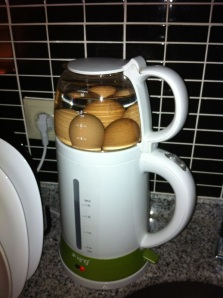 Nick preps some hard boiled eggs in our kettle at Lemon Residences, Istanbul