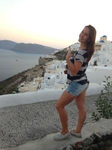 My first glimpse of Oia, Santorini at Twilight