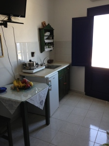Our small but incredibly useful kitchenette at Agnadi Villas, Oia, Santorini