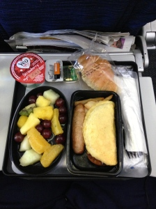 Airline Food...not nearly as appetising as my homemade selection. I ate the fruit and half of the omelette